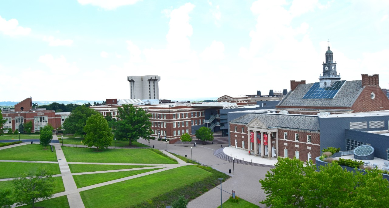 A view of the McMicken quad, including the student union building.