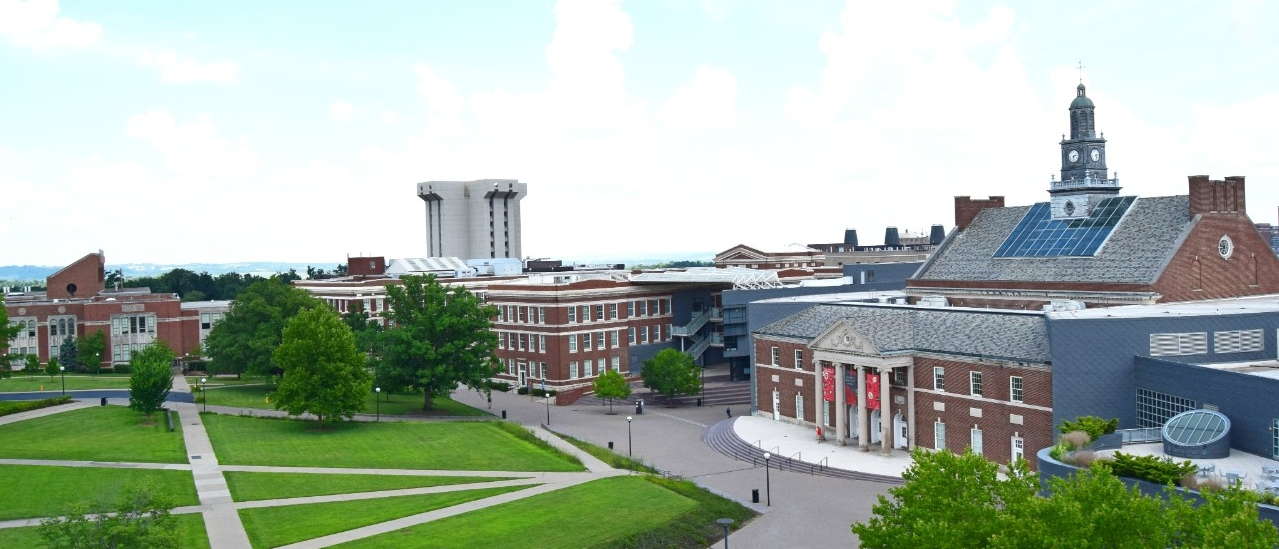 McMicken Commons with Tangeman University Center to the right and Crosley Tower in the background.